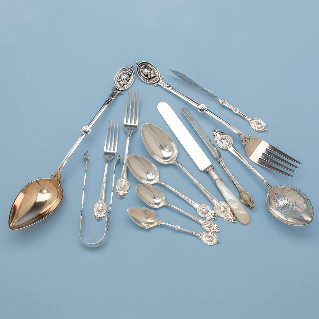 Gorham/ Wendt 'Medallion Pattern Antique Sterling Flatware Service, Providence, NYC, mid 1860's