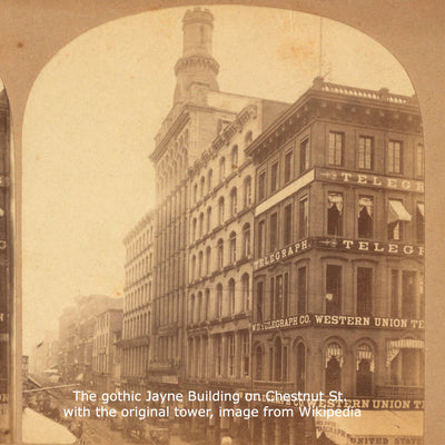 The gothic Jayne Building on Chestnut St. with the original tower image from Wikipedia