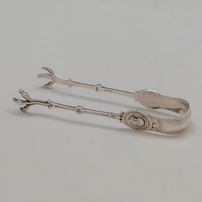 Sugar tongs to Gorham/ Wendt 'Medallion Pattern Antique Sterling Flatware Service, Providence, NYC, mid 1860's
