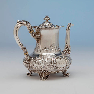 Coffee pot to Dominick & Haff 5-piece Antique Sterling Silver Coffee Service, NYC, 1892