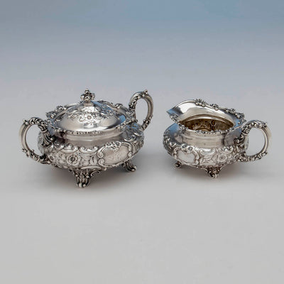 Creamer and sugar to Dominick & Haff 5-piece Antique Sterling Silver Coffee Service, NYC, 1892
