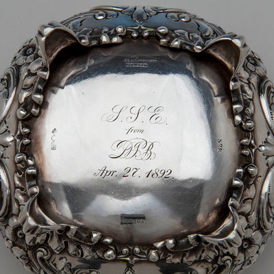 Underside of Dominick & Haff 5-piece Antique Sterling Silver Coffee Service, NYC, 1892