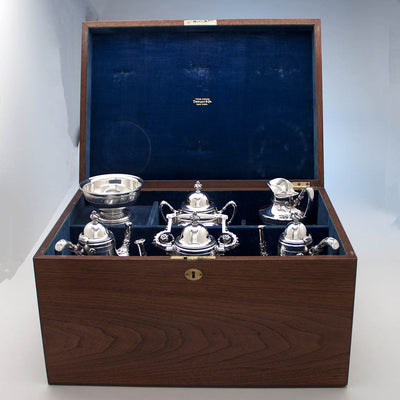 Boxed service of Tiffany & Co Extremely Rare and Fine Antique Sterling Silver 6 Piece Coffee and Tea Service, Edward C. Moore, c. 1870-75, in Original Union Square Mahogany Box with later Tiffany Antique Sterling Tray
