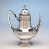 Coffee pot to Tiffany & Co Extremely Rare and Fine Antique Sterling Silver 6 Piece Coffee and Tea Service, Edward C. Moore, c. 1870-75, in Original Union Square Mahogany Box with later Tiffany Antique Sterling Tray