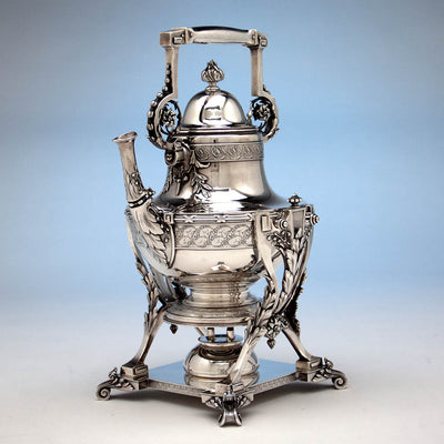 Kettle to Tiffany & Co Extremely Rare and Fine Antique Sterling Silver 6 Piece Coffee and Tea Service, Edward C. Moore, c. 1870-75, in Original Union Square Mahogany Box with later Tiffany Antique Sterling Tray