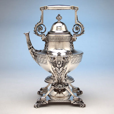 Kettle profile of Tiffany & Co Extremely Rare and Fine Antique Sterling Silver 6 Piece Coffee and Tea Service, Edward C. Moore, c. 1870-75, in Original Union Square Mahogany Box with later Tiffany Antique Sterling Tray