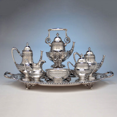 Tiffany & Co Extremely Rare and Fine Antique Sterling Silver 6 Piece Coffee and Tea Service, Edward C. Moore, c. 1870-75, in Original Union Square Mahogany Box with later Tiffany Antique Sterling Tray