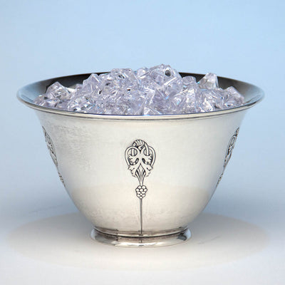 Arthur Stone Arts & Crafts Sterling Silver Decorated Ice Bowl, Gardner, Massachusetts, c. 1930