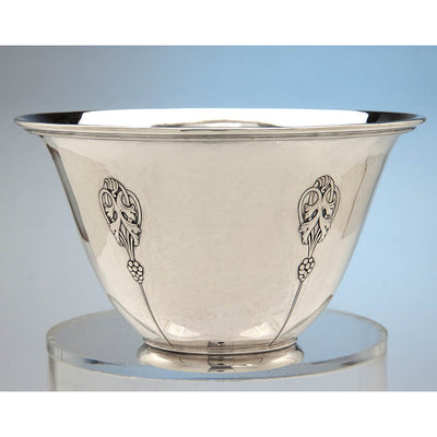 Chased decoration on Arthur Stone Arts & Crafts Sterling Silver Decorated Ice Bowl, Gardner, Massachusetts, c. 1930