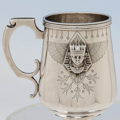 Detailed view of the American Antique Sterling Egyptian Revival Child's Cup, c. 1870's