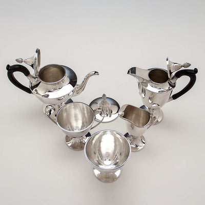 Open Gebelein Arts & Crafts 5-piece Sterling Silver Tea Service, Boston, c. 1920