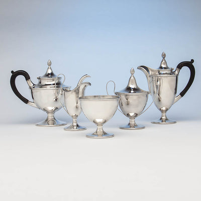 Gebelein Arts & Crafts 5-piece Sterling Silver Tea Service, Boston, c. 1920
