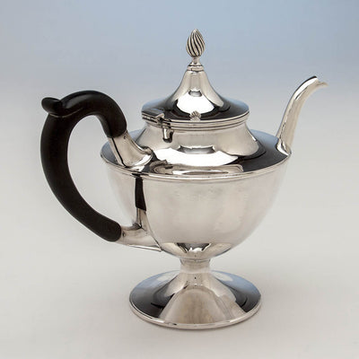 Tea pot in Gebelein Arts & Crafts 5-piece Sterling Silver Tea Service, Boston, c. 1920