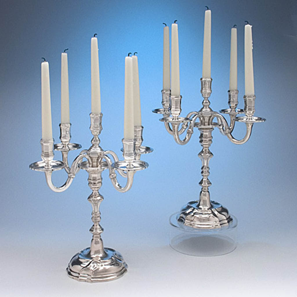Abraham Mayr, II (probably) Pair of Extremely Rare French Provincial Silver Five Light Candelabra, Mulhouse, Alsace, c. 1750