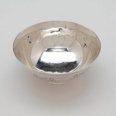 Interior of Arthur Stone Arts & Crafts Sterling Silver Acorn Decorated Bowl, Gardner, Massachusetts, 1920-36
