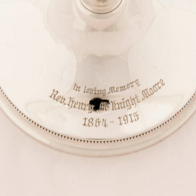 Inscription on Gorham Antique Sterling Silver Ciborium, Providence, RI, 1908