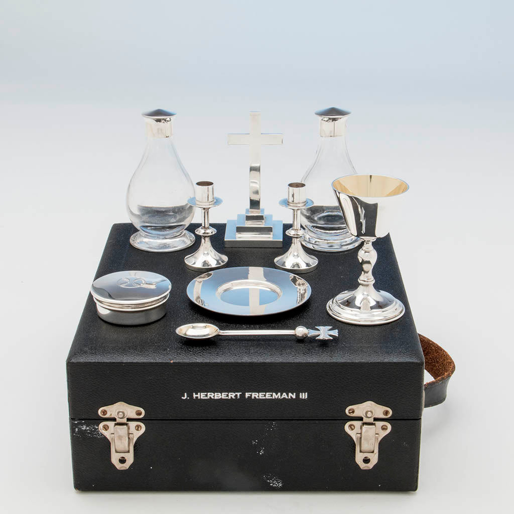 H. F & Co Ltd Sterling Traveling Communion Set, London, 1964/65