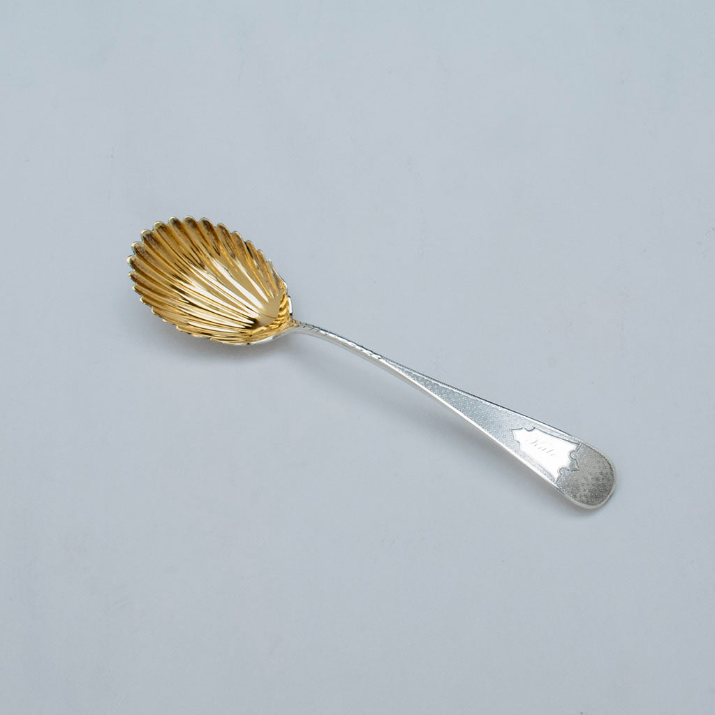George Sharp Antique Sterling Silver Berry Spoon, Philadelphia, PA, c. 1870