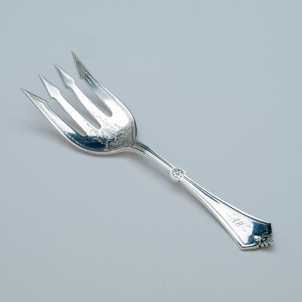 Gorham 'Rosette' Pattern Antique Sterling Serving Fork, Providence, RI, c. 1870