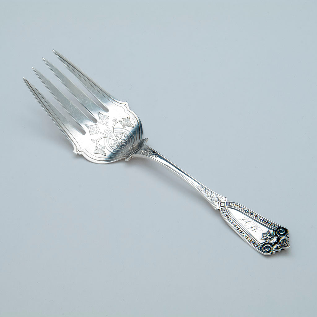 Whiting Ivy Pattern Antique Sterling Silver Serving Fork, NYC, c. 1870