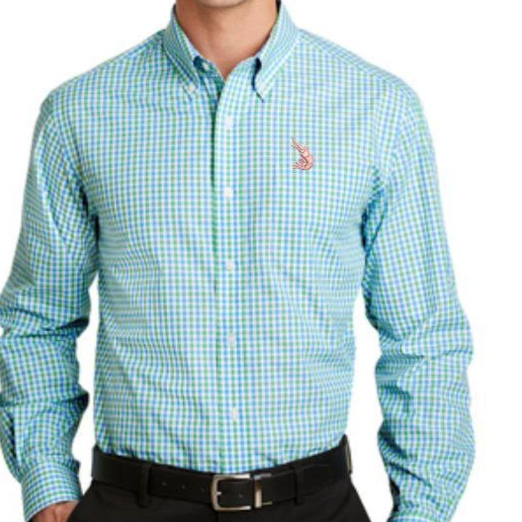 Gingham L/S Shirt Green/Aqua