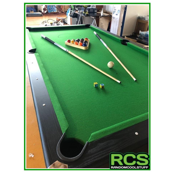 8 Foot Pool Table - UPGRADED - Black Wood Grain Finish