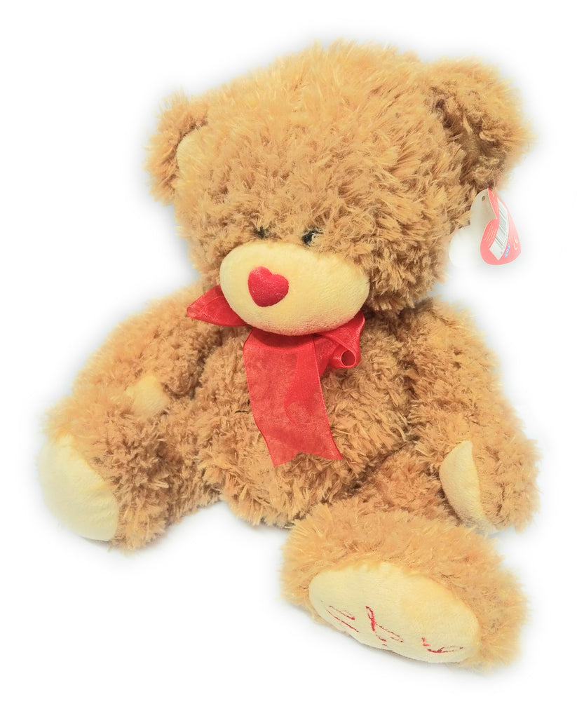 "I LOVE YOU PLUSH TAN TEDDY BEAR STUFFED TOY 12"" Red I Love You On Paw Tagged"