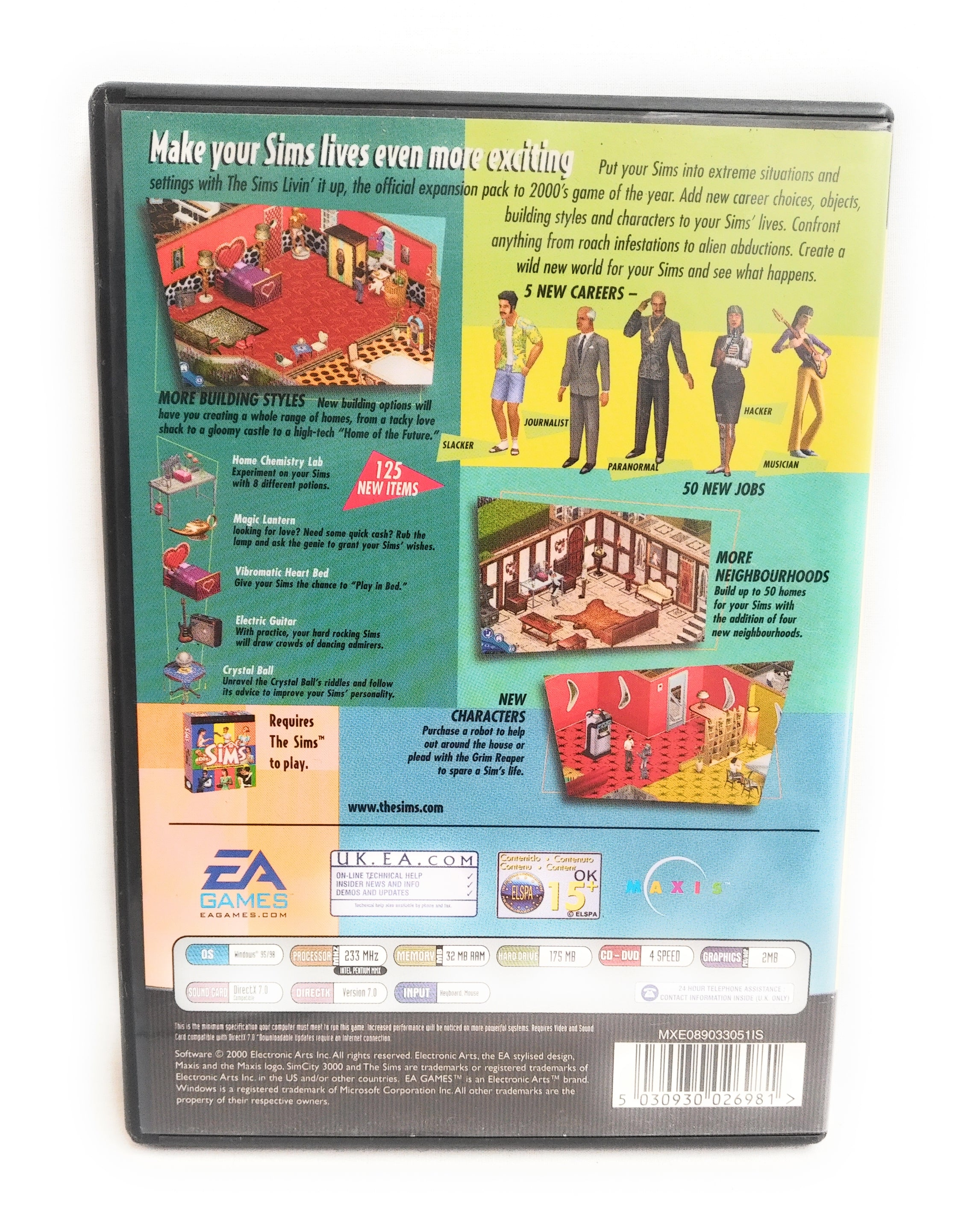 The Sims: Livin' It Up Expansion Pack (PC CD), Windows 98, Windows