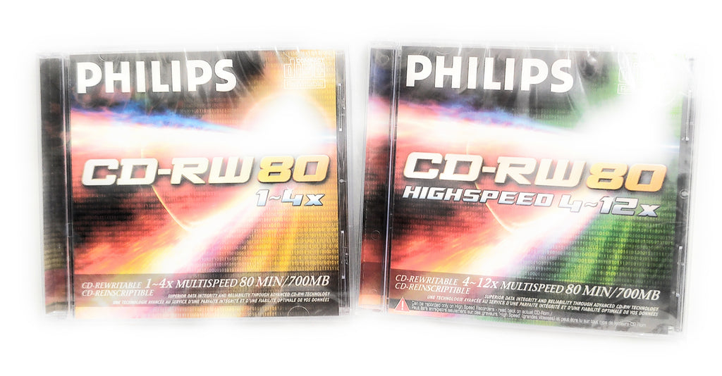 Philips CD-RW 80 Mins 700MB 4-12X Speed Recordable Blank Discs x2
