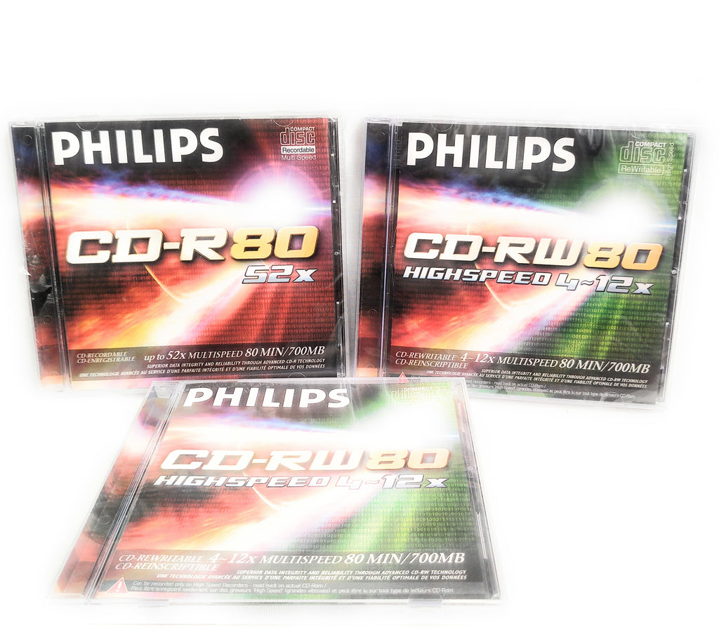 Philips CD-RW 80 Mins 700MB 4-12X Speed Recordable Blank Discs x3