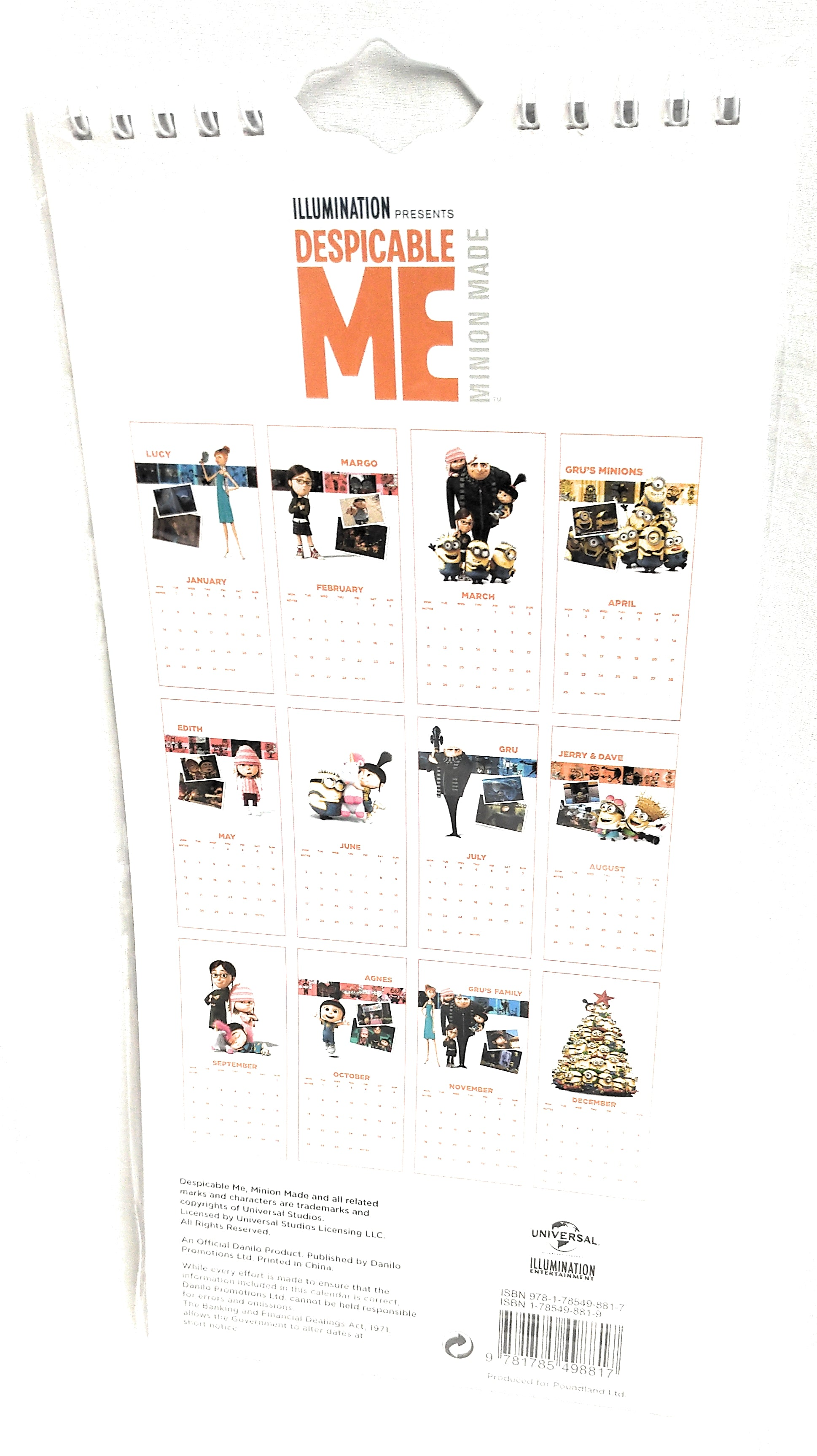Despicable Me 2019 Calendar - Month To View (New)