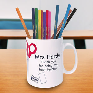 Teacher Mug with Personalised Pencils Back To School Gift