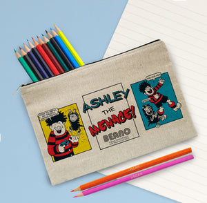 Personalised Beano Classic Comic Strip Water Pistol Canvas Pencil Case & Pencils