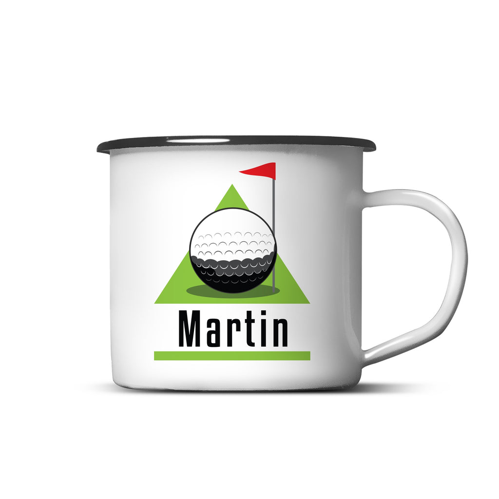 Personalised Golf Green Enamel Mug Dad Gift Fathers Day Birthday