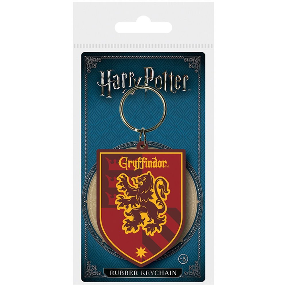 HARRY POTTER GRYFFINDOR CREST PVC KEYRING METAL LOOP HOGWARTS COAT OF ARMS LION