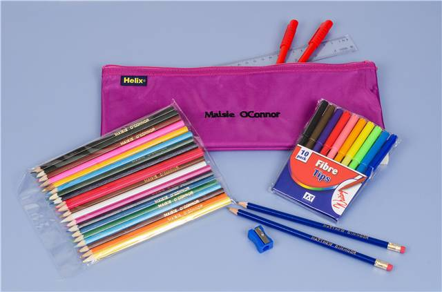 Personalised Pencil Case & Contents Purple Back to School