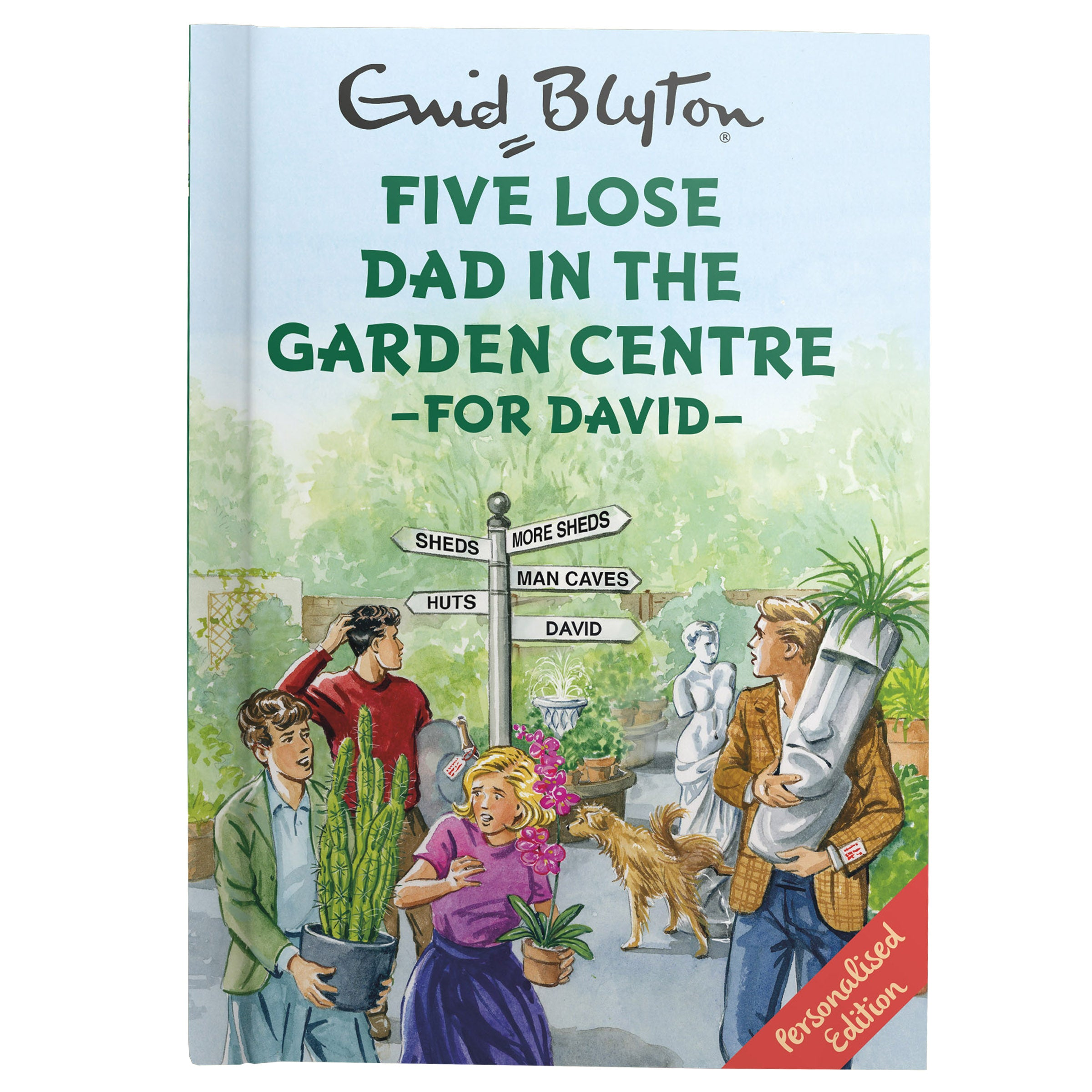 Personalised Book Enid Blyton Five Lose Dad In The Garden Centre Spoof Gift
