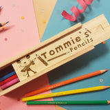 Personalised Arty Mouse Wooden Pencil Box & Pencils