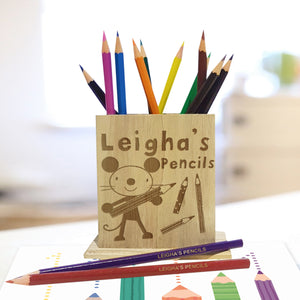 Personalised Arty Mouse Wooden Pencil Holder & Pencils