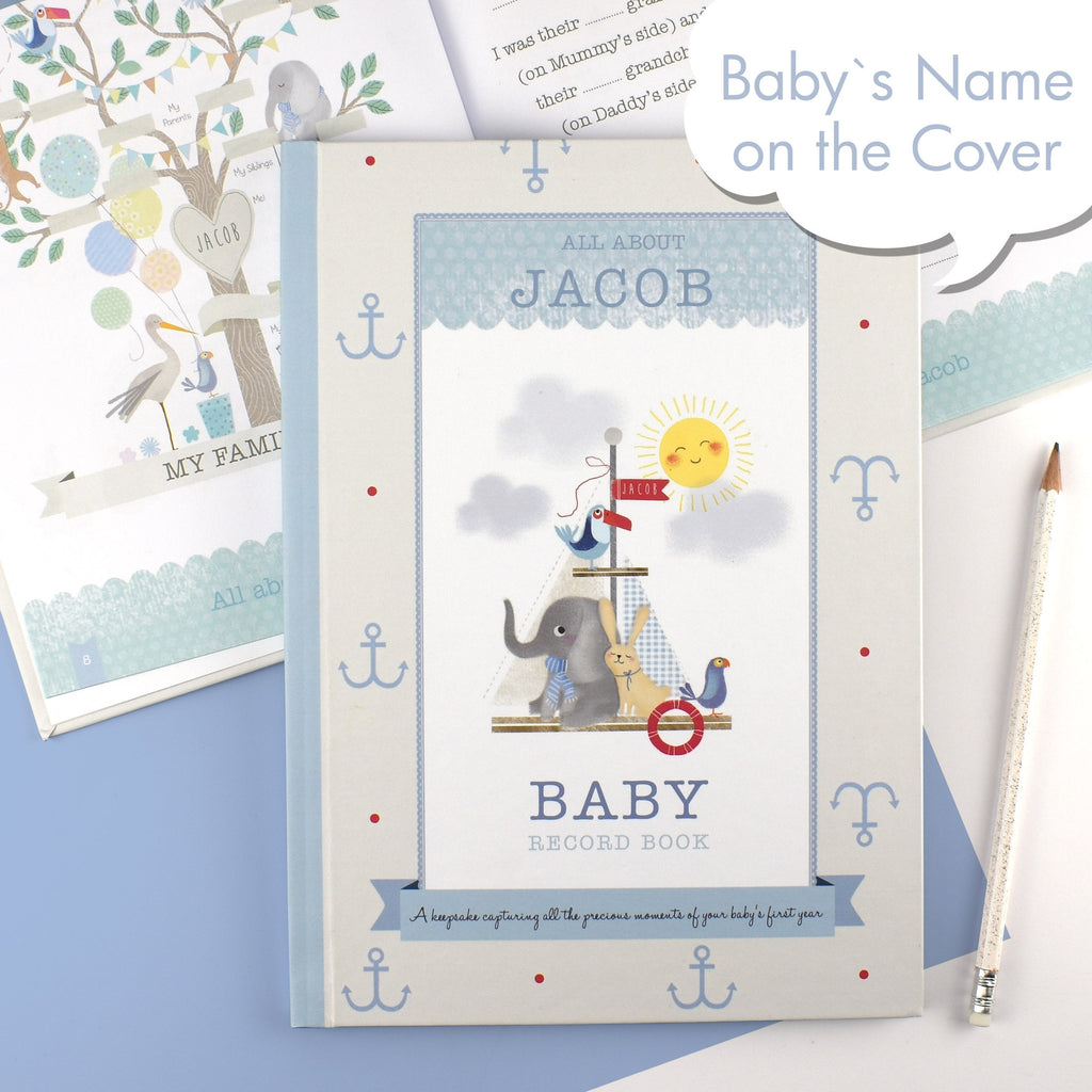 Personalised MILLY & FLYNN BABY RECORD BOOK New Baby Boy Gift, Free Gift Box