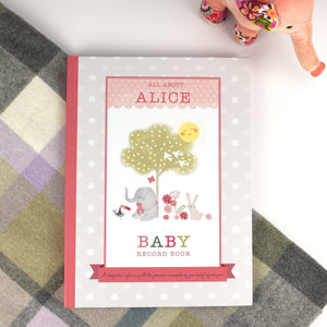 Personalised MILLY & FLYNN BABY RECORD BOOK New Baby Girl Gift Free Gift Box