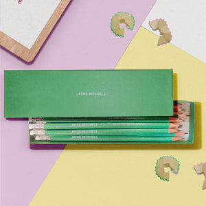 Personalised 12 Green Glitter Lead Pencils In A Green Box Back to School