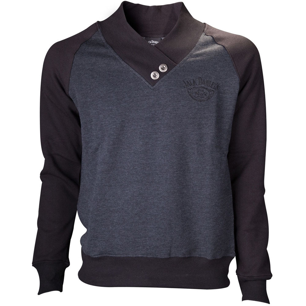 JACK DANIEL'S V-Neckline Old No.7 Brand Logo Sweater, Male, Medium, Grey/Black (SW789014JDS-M)