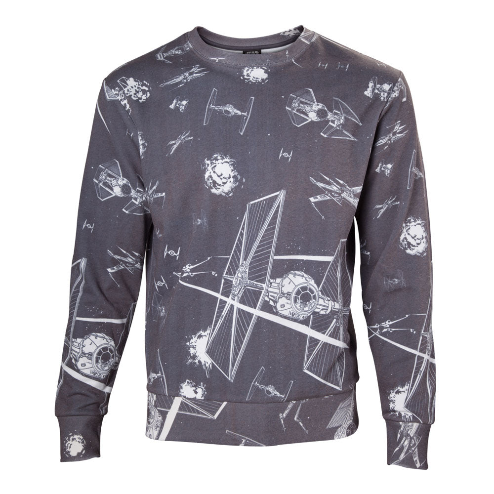 STAR WARS Imperial Fleet TIE Fighters All-Over Print Sublimation Sweater, Male, Small, Dark Grey (SW501022STW-S)
