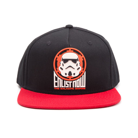 STAR WARS Enlist Now! The Galactic Empire Stormtrooper Logo Snapback Baseball Cap, One Size, Black/Red