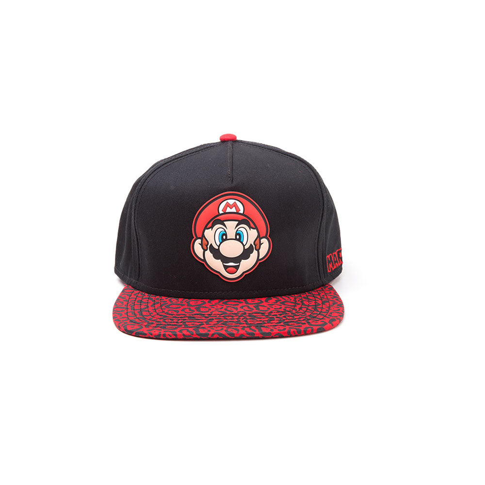 3350faff7fd NINTENDO Super Mario Bros. Mario Face Rubber Patch Snapback Baseball Cap  with Animal Print Brim