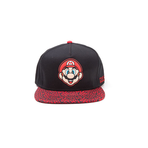 NINTENDO Super Mario Bros. Mario Face Rubber Patch Snapback Baseball Cap with Animal Print Brim, One Size, Black/Red (SB097518NTN)