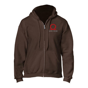 GOD OF WAR Serpent Logo Full Length Zipper Hoodie, Male, Extra Extra Large, Brown (GE6240XXL)