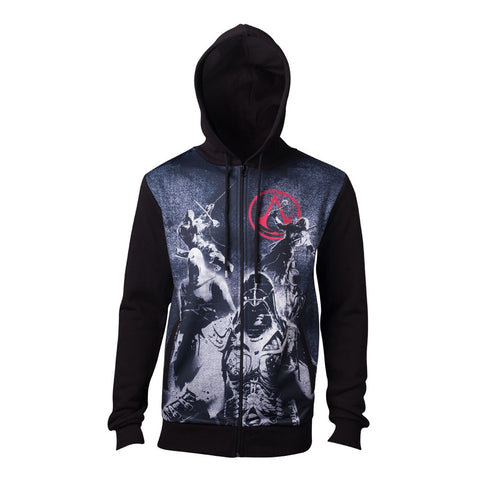 ASSASSIN'S CREED Male Live by the Creed Core Full Length Zipped Hoodie, Large, Black