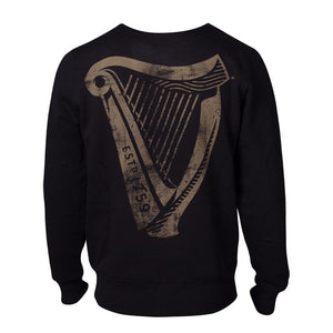 GUINNESS Distressed Harp Logo Sweatshirt, Male, Large, Black (SW724417GNS-L)
